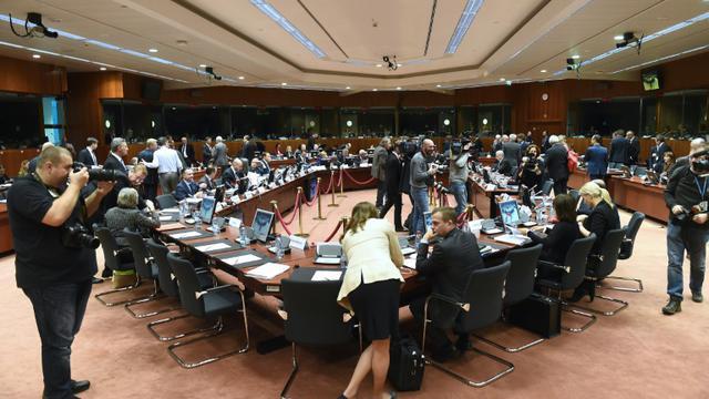 Réunion des ministres de l'Intérieur de l'UE sur l'adoption d'un PNR européen, le 4 décembre 2015 à Bruxelles [EMMANUEL DUNAND / AFP]