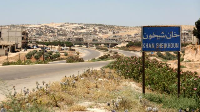 L'entrée de la ville de Khan Cheikhoun, en Syrie, cible supposée d'une attaque au gaz, le 12 juillet 2017 [Omar haj kadour / AFP/Archives]