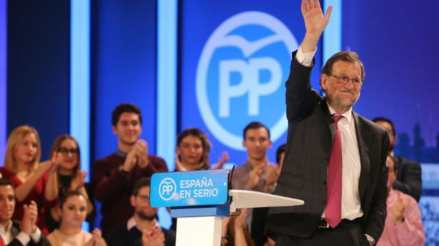 Mariano Rajoy en meeeting le 18 décembre 2015 à Madrid  [CESAR MANSO / AFP]