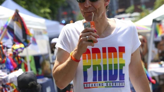 Un participant à la Harlem Pride de New York le 29 juin 2019 [Kena Betancur / Afp/AFP]