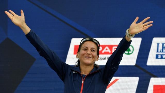Clémence Calvin vice-championne du marathon lors des Championnats d'Europe d'athlétisme à Berlin, le 12 août 2018 [John MACDOUGALL / AFP/Archives]