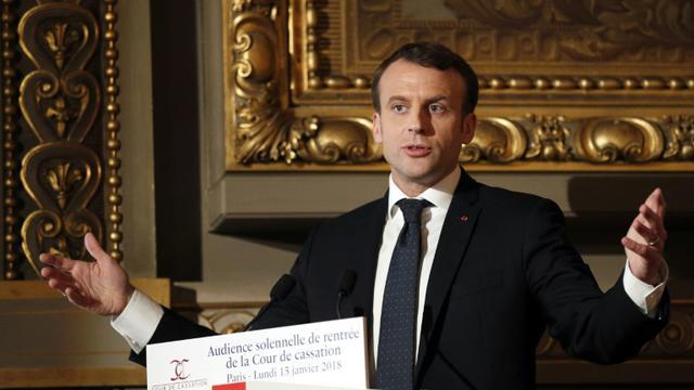 Emmanuel Macron lors de l'audience solennelle de rentrée de la Cour de Cassation, le 15 janvier 2018 à Paris [Francois Mori / POOL/AFP]