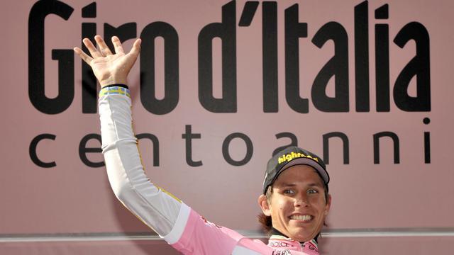 Le Suédois Thomas Lovkvist maillot rose de leader du Giro le 12 mai 2009 à San Martino di Castrozza [Damien Meyer / AFP/Archives]