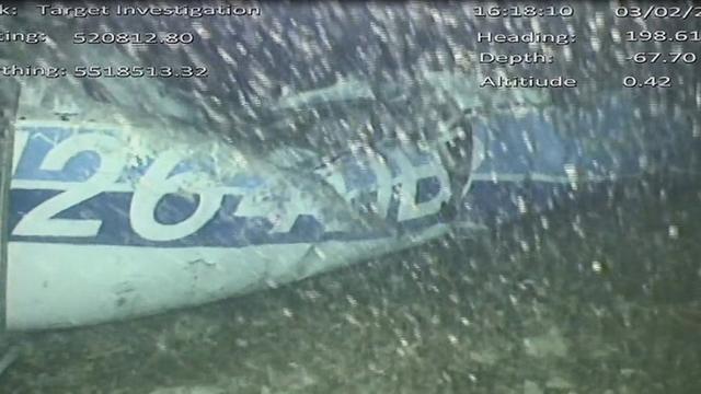 Une partie du fuselage de l'avion transportant Emiliano Sala, dans une vidéo fournie par le Bureau d'enquête britannique sur les accidents aériens [HO / AAIB/AFP]