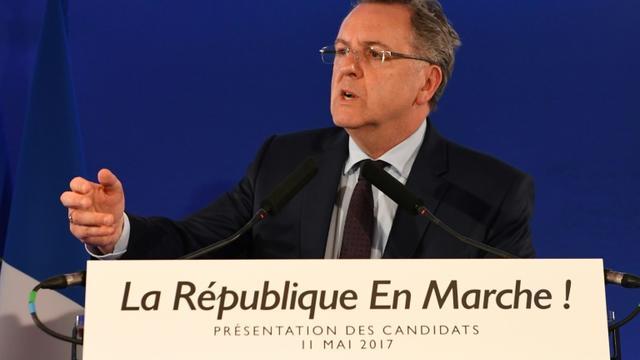 Richard Ferrand, secrétaire général du mouvement La République en marche (EMA) en conférence de presse le 11 mai 2017 à Paris [Eric FEFERBERG / POOL/AFP]