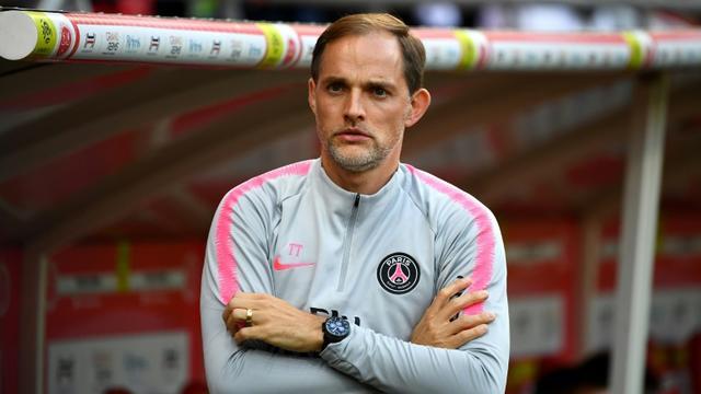 L'entraîneur du PSG, Thomas Tuchel, suit le match contre Reims en L1 au stade Auguste-Delaune, le 24 mai 2019 [FRANCK FIFE / AFP]