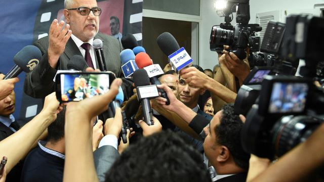 Le Premier ministre et secrétaire général du parti islamiste marocain Abdelilah Benkirane s'adresse à la presse à Rabat le 5 septembre 2015 [FADEL SENNA / AFP]