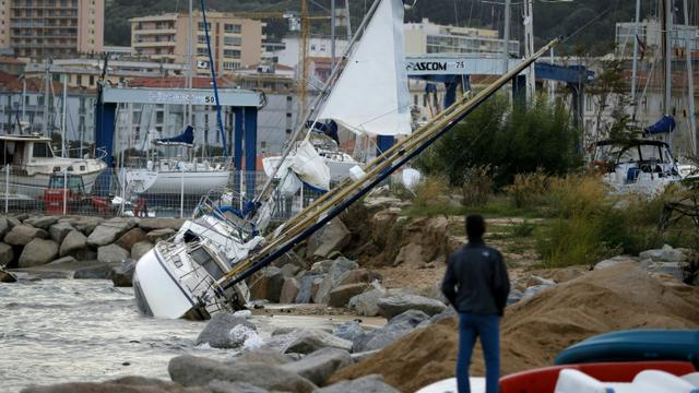 Le port d'Ajaccio après le passage de vents violents, le 31 octobre  2018 [PASCAL POCHARD-CASABIANCA / AFP/Archives]