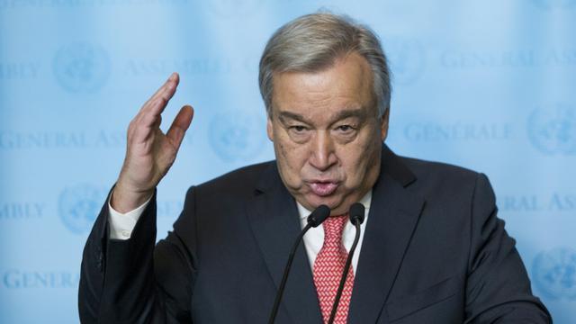 Le prochain patron des Nations unies Antonio Guterres au siège de l'ONU le 12 décembre 2016 [Eduardo Munoz Alvarez / AFP]