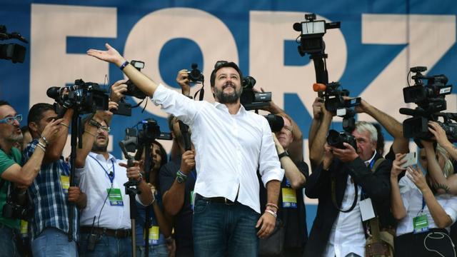 Le leader souverainiste italien Matteo Salvini au congrès annuel de son parti à Pontida, le 15 septembre 2019 [Miguel MEDINA / AFP/Archives]
