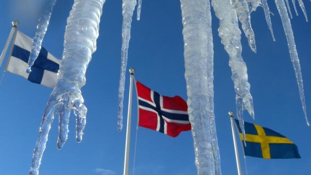 Le drapeau de la Finlande (g), aux côtés de ceux de ses voisins scandinaves, la Norvège (c) et la Suède [JOE KLAMAR / AFP/Archives]