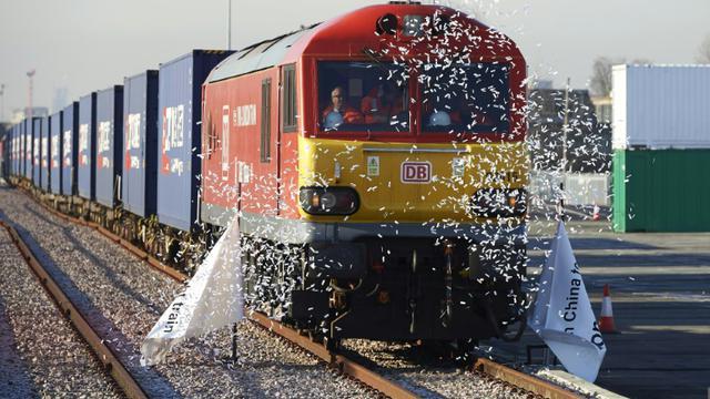 Premier train de marchandises reliant directement Londres à la Chine, photo prise le 18 janvier 2017 à Londres [NIKLAS HALLE'N / AFP]