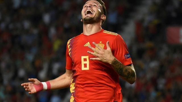 Le milieu de terrain de l'Espagne Saul Niguez lors de la victoire face à la Croatie 6-0 en 2e journée de Ligue des Nations [JOSE JORDAN / AFP]