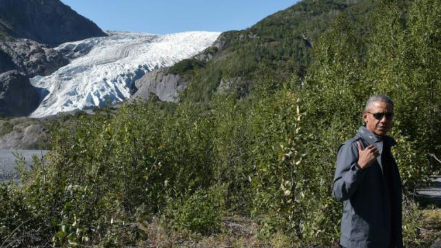 Le président Barack Obama au pied du glacier Exit dans le sud-ouest de l'Alaska aux Etats-Unis, le 1er septembre 2015  [Mandel Ngan / AFP]