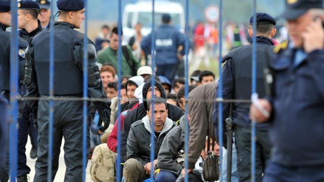 Des migrants et réfugiés stoppés par des policiers croates au niveau du village de  Strosinci tout proche de la frontière serbe, le 26 septembre 2015 [Elvis Barukcic / AFP]