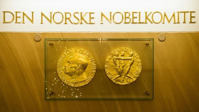 Les deux faces de la médaille du prix Nobel exposées dans le hall de l'Institut Nobel à Oslo, en décembre 2015 [ODD ANDERSEN / AFP/Archives]