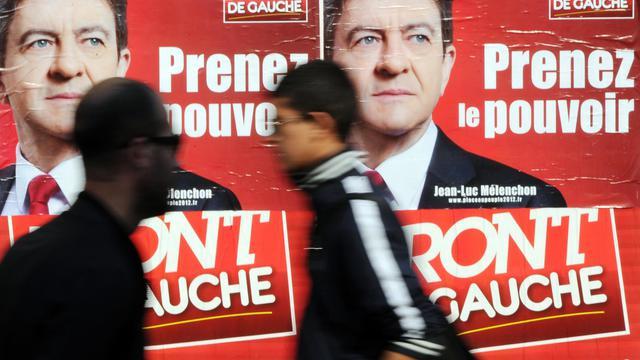 Une affiche pour le candidat Front de gauche à la présidentielle, Jean-Luc Mélenchon, en mars 2012 à Marseille [Gerard Julien / AFP/Archives]