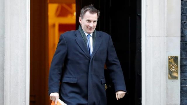 Le ministre britannique des Affaires étrangères Jeremy Hunt sort du 10 Downing Street, le 22 janvier 2019 à Londres [Tolga AKMEN / AFP/Archives]