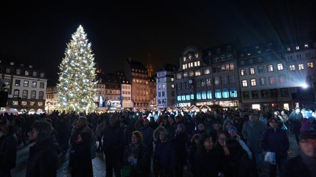 La foule devant un sapin de Noël à Strasbourg pour l'ouverture du marché de Noël le 28 novembre 2014 [FREDERICK FLORIN / AFP/Archives]
