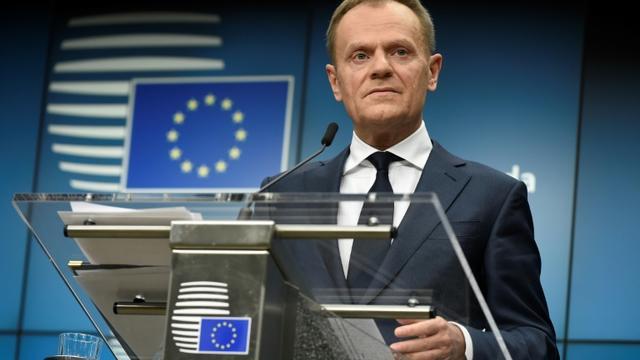 Le président du Conseil européen Donald Tusk lors d'une conférence de presse à Bruxelles, le 23 février 2018  [JOHN THYS / AFP]