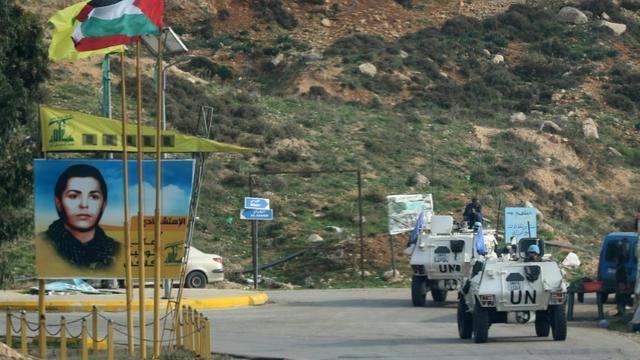 La Force de l'ONU au Liban (Finul) patrouille près de la frontière avec Israël, à Kfar Kila (Liban), le 4 décembre 2018 [Mahmoud ZAYYAT / AFP]