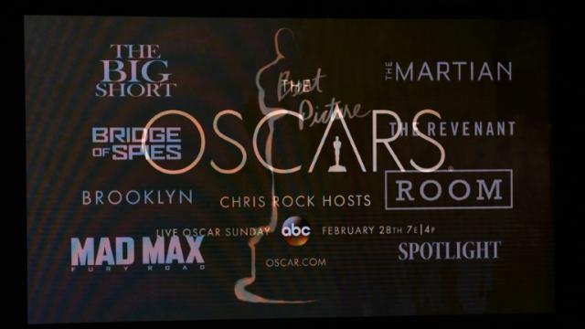 Capture d'écran des principaux films nominés pour le meilleur film, au Samuel Goldwyn Theater, à Beverly Hills, le 14 janvier 2016. [Mark RALSTON / AFP/Archives]