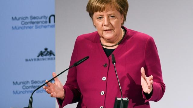 La chancelière allemande Angela Merkel, lors de la Conférence de sécurité de Munich, le 16 février 2019 [Christof STACHE / AFP]