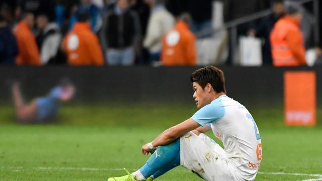 Le défenseur japonais de Marseille Hiroki Sakai dépité après la défaite contre Nantes en championnat, le 28 avril 2019 au Stade Vélodrome  [GERARD JULIEN / AFP/Archives]