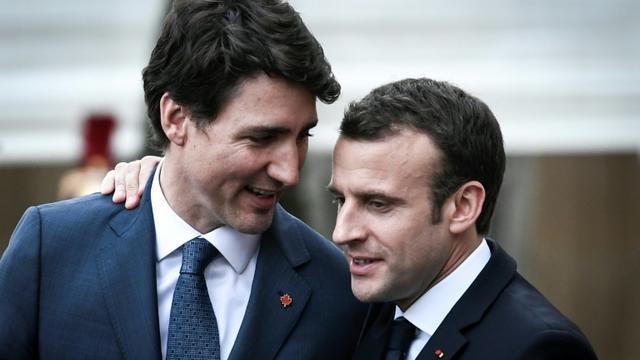 Le Premier ministre canadien Justin Trudeau et le président français Emmanuel Macron après leur rencontre à l'Elysée, le 16 avril 2018 [STEPHANE DE SAKUTIN / AFP]
