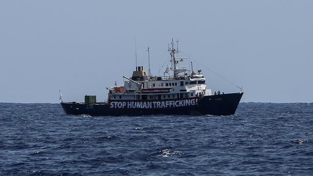 Le navire C-Star au large de la Libye, le 13 août 2017 [Angelos Tzortzinis / AFP/Archives]