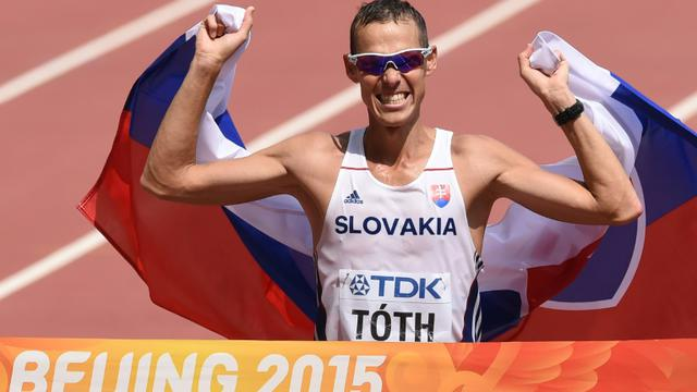 Le Slovaque Matej Toth à l'issue du 50 km marche le 29 août 2015 à Pékin [PEDRO UGARTE / AFP]