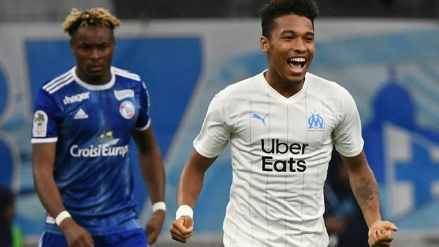 Le défenseur de l'OM Boubacar Kamara vient d'ouvrir le score contre Strasbourg le 20 octobre 2019 à Marseille [Boris HORVAT / AFP]