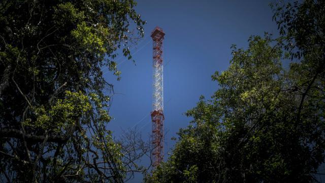 Une structure métallique aussi haute que la Tour Eiffel sert de laboratoire pour étudier le changement climatique au coeur de la forêt amazonienne, le 22 août 2015, jour de son inauguration [RAPHAEL ALVES / AFP]