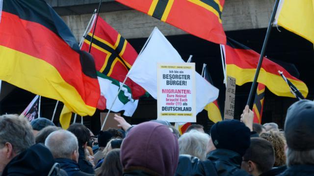 Des sympathisants d'extrême droite manifestent, le 9 janvier 2016 à Cologne  [Roberto Pfeil / AFP]
