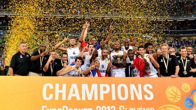 L'équipe de France de basket-ball célèbre son titre en Coupe d'Europe contre la Lituanie, le 22 septembre 2013 à Ljubljana [Jure Makovec / AFP/Archives]