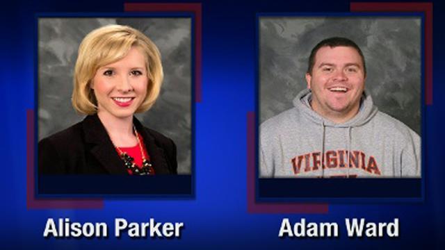 Une capture d'écran de la chaîne de télévision WDBJ7-TV montre les deux employés de la chaîne, Alison Parker et Adam Ward, qui ont été abattus en direct par un tireur à Roanoke en Virginie, le 26 août 2015 [Handout / WDBJ7-TV/AFP]