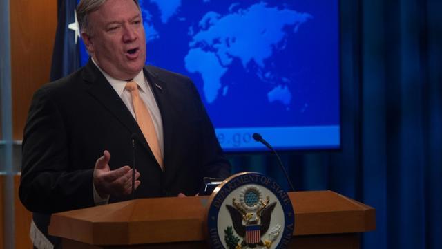 Le secrétaire d'Etat américain Mike Pompeo lundi à Washington [ANDREW CABALLERO-REYNOLDS / AFP]