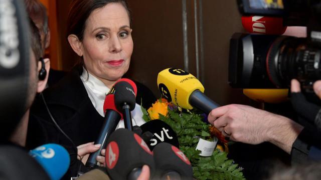 La secrétaire perpétuelle de l'Académie suédoise, qui décerne le Nobel de littérature Sara Danius, à Stockholm, le 12 avril 2018 [Jonas EKSTROMER / TT NEWS AGENCY/AFP]