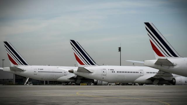 Des avions de la compagnie Air France sur le tarmac de l'aéroport Roissy-Charles-de-Gaulle, le 16 avril 2018 au nord de Paris [Philippe LOPEZ / AFP/Archives]