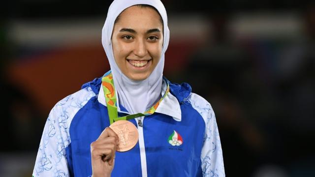 La taekwondoiste iranienne Kimia Alizadeh médaillé de bronze en -57 kg aux Jeux de Rio, le 18 août 2016 [Kirill KUDRYAVTSEV / AFP/Archives]