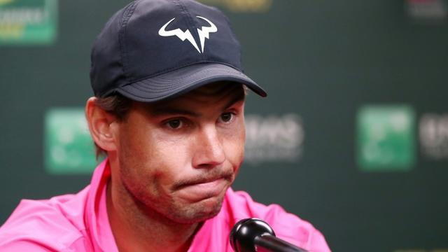 L'Espagnol Rafael Nadal en conférence de presse lors du tournoi d'Indian Wells le 16 mars 2019 [Yong Teck Lim / GETTY IMAGES NORTH AMERICA/AFP]