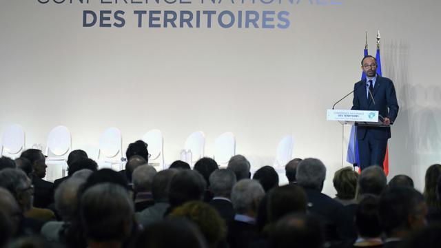 """Edouard Philippe s'exprime lors de la deuxième """"conférence des territoires"""" à Cahors, le 14 décembre 2017 [PASCAL PAVANI / AFP]"""