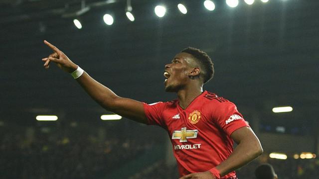 Le milieu français de Manchester United Paul Pogba auteur d'un doublé en Premier League contre Huddersfield, le 26 décembre à Manchester  [Oli SCARFF                           / AFP]