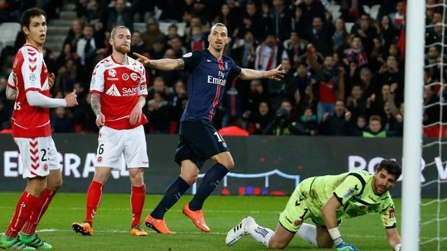 L'attaquant du PSG Zlatan Ibrahimovic inscrit un but face à Reims, le 20 février 2016 au Parc des Princes [THOMAS SAMSON / AFP]