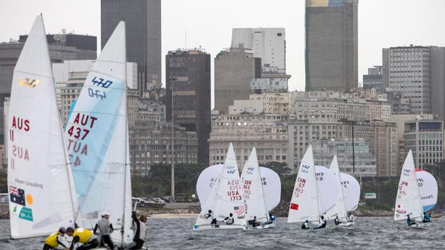 Les voiliers lors de la compétition-test, en vue des épreuves des JO-2016, dans la baie de Rio de Janeiro le 9 août 2014 [Yasuyoshi Chiba / AFP]