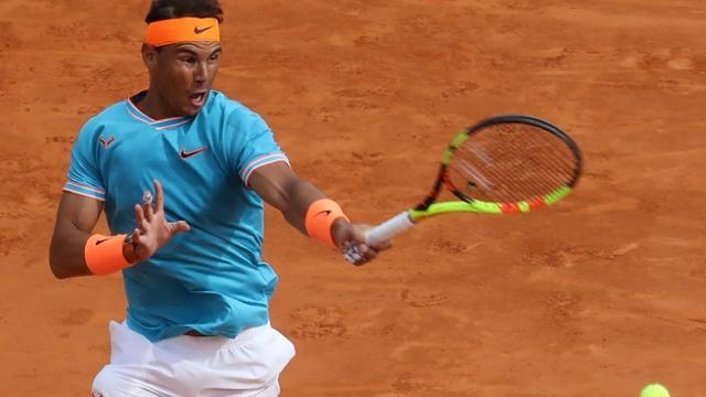 L'Espagnol Rafael Nadal éliminé en demi finale du Masters 1000 de Monte-Carlo par l'Italien Fabio Fognini le 20 avril 2019 [VALERY HACHE / AFP]
