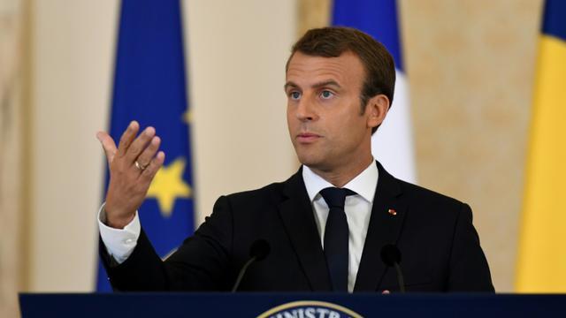 Le président français Emmanuel Macron à Bucarest, en Roumanie, le 24 août 2017 [BERTRAND GUAY / AFP]