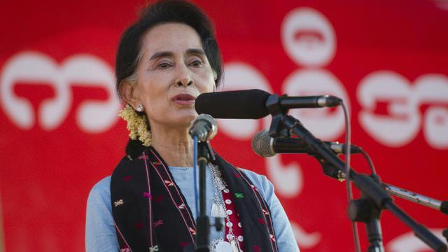 Aung San Suu Kyi le 2 octobre 2015 aux environs de Winemaw [Ye Aung Thu / AFP/Archives]