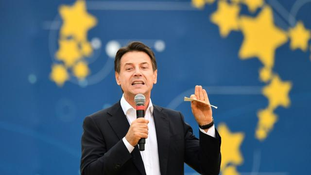 Le Premier ministre italien Giuseppe Conte, le 21 octobre 2018 à Rome [Alberto PIZZOLI / AFP]