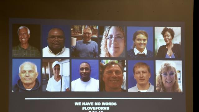 Les 12 victimes identifiées samedi par les autorités de Virginia Beach, dont les photos ont été projetées sur un écran lors d'une conférence de presse émouvante [Eric BARADAT  / AFP]